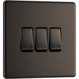 Bg Screwless Flat Plate Black Nickel 10AX Light Switch 3 Gang 2 Way