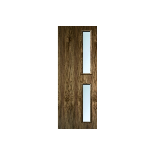 Internal Flush Walnut Veneer FD30 Fire Door 16G Glazed Clear 1981mm x 838mm x 44mm