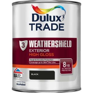 Dulux Weathershield Exterior High Gloss Paint Black 1L
