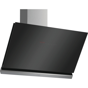 Bosch Serie 8 90cm Angled Glass Cooker Hood Black with Home Connect - DWK98PR60B