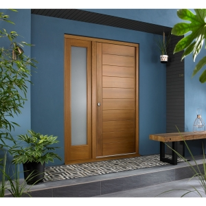 Oslo External Oak Veneer Door 1981 x 838mm + Oak Frame & Side Light 1 x 24in 610mm Reversible