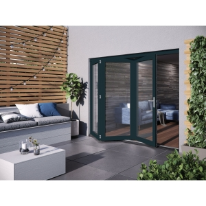 JELD-WEN Bedgbury Finished Solid Hardwood Patio Bifold Door Set Grey - 2094 x 2394 mm