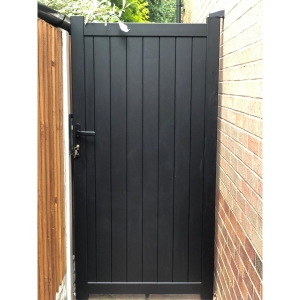 """Canterbury Pedestrian Flat Top Pedestrian Gate with Vertical Solid INFILL, LOCK, Lock Keep and Hinges 900 x 2200mm Black"""""""