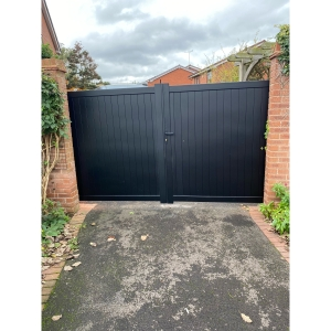 Canterbury Double Swing Flat Top Driveway Gate with Vertical Solid Infill 3750 x 2200mm Black