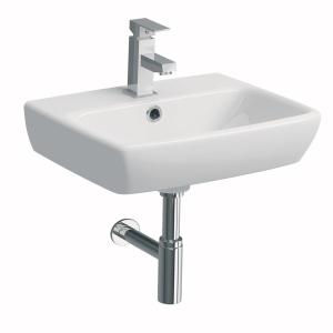 Twyford E100 Square 450mm Handrinse Washbasin 1T E14831WH