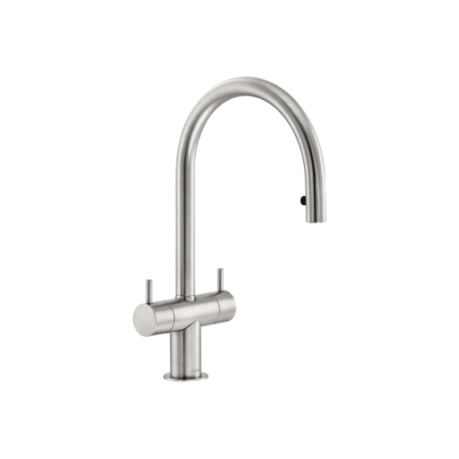 Abode Hesta Dual Lever Pull Out Sink Tap Brushed Nickel AT1206