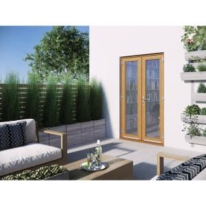 JELD-WEN Kinsley Hardwood French Doors Golden Oak Finish - 4ft
