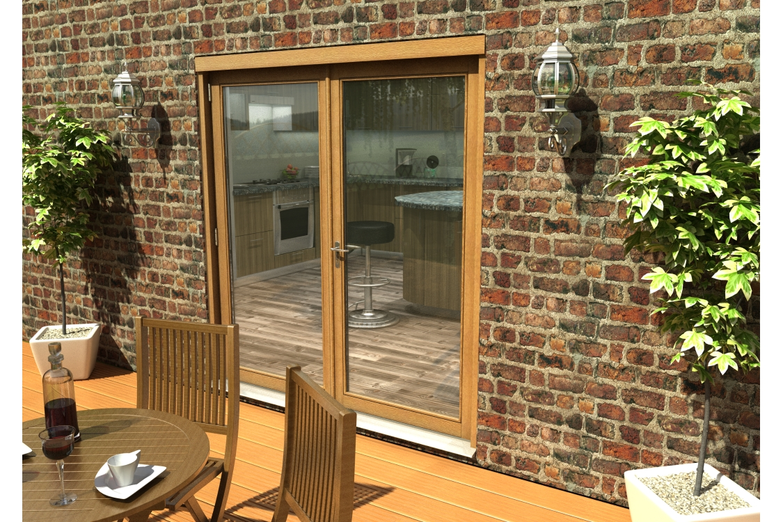 Travis Perkins 54mm Ptq Solid Oak Unfinished External French 1800mm Door Set