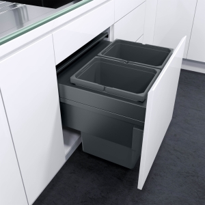 Vauth Sagel Envi Space Xx 600mm Pull Out Bin with 2 x 35L Sections Graphite 503.04.386