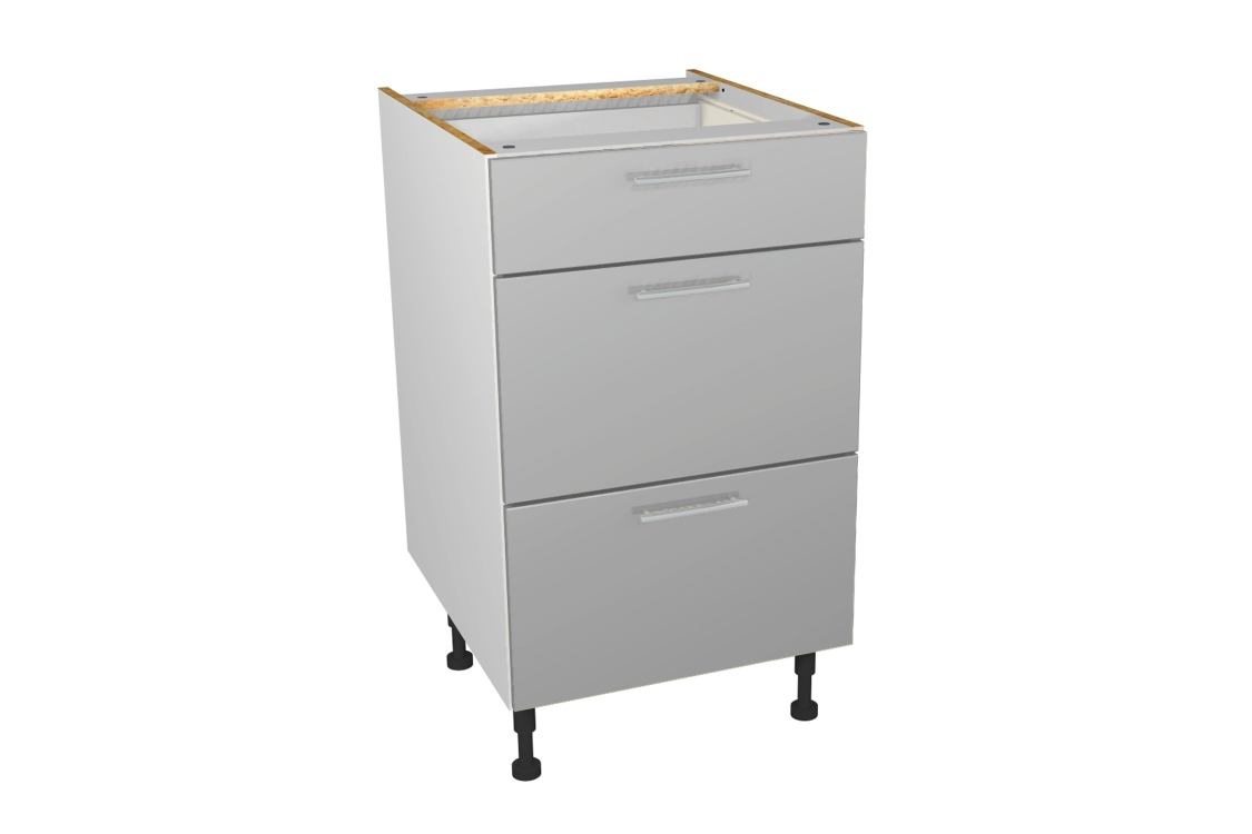 Self Assembly Kitchens Orlando Grey 500 3 Drawer Base