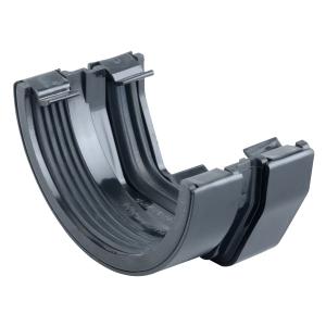 """Osma SquareLine 4T818 Connector To 4.5"""" RoundLine Gutter 100mm Black"""""""