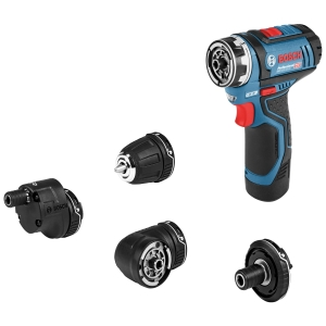"""Bosch Gsr 12V-15 Fc 12V Flexiclick Drill Driver with ANGLE, Bit HOLDER, Drill Chuck and Offset Angle Adapter with 2 x 2.0 Ah Batteries and Charger with L-BOXX"""""""