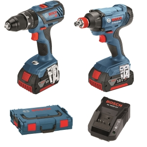 """Bosch Gsb 18V-28 Combi +GDX 18V-180 Impact DRIVER/WRENCH+2 x 2.0AH BATTERIES, Charger and L-BOXX"""""""