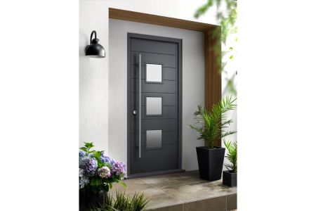 Malmo External Grey Hardwood Veneer Door 1981 x 838mm + External Hardwood Veneer Door Frame Grey