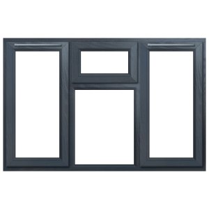 """Euramax Grey Upvc Casement Window 4P Top, Left and Right Side Hung 1770 x 1190mm"""""""