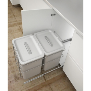 400mm Bottom Mounted Pull Out Bin for Hinged Doors