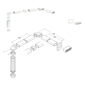 Hafele System 5 to 5A Ventilation Grille and Ducting Set 3 Metre White 565.30.722