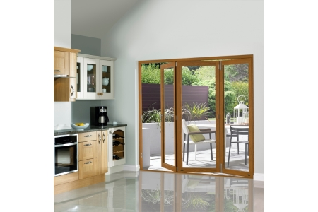 Slimline External Pre-finished Oak Veneer Bifold Door Set 2690mm wide