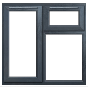 Euramax Grey Upvc Casement Window 3P Top and Left Side Hung 1190 x 1040mm