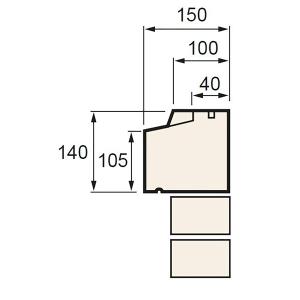 Supreme T1-40-1120/BT Cill Stooled T1-40 Bath 1120 x 150 x 140mm