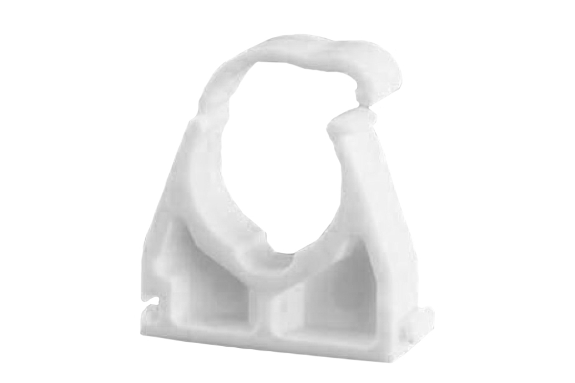Ellis Patents Single Hinged Pipe Clip White Plastic 22mm