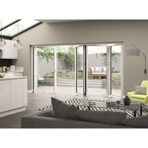 Aluminium External White Right Opening Bifold Door Set 3990mm wide