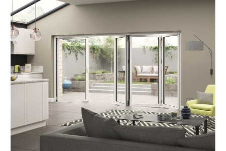 External Aluminium White Right Opening Bifold Door Set 3990mm wide