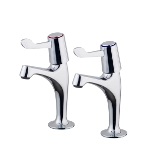 Belfort Pillar Sink Taps Chrome