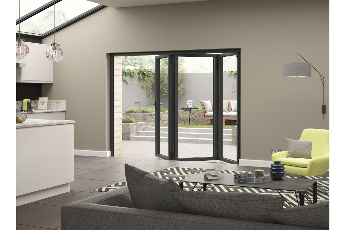 External Aluminium Grey Left Opening Bifold Door Set 2090mm wide