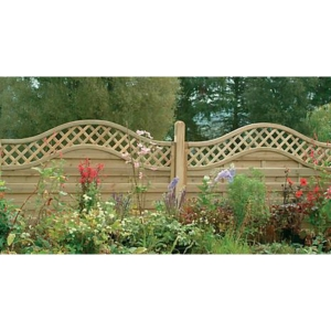Pressure Treated Decorative Europa Prague Fence Panel 1.8m x 1.5m - Pack of 3