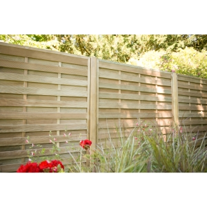 Pressure Treated Decorative Horizontal Hit and Miss Fence Panel 1.8m x 1.8m - Pack of 4