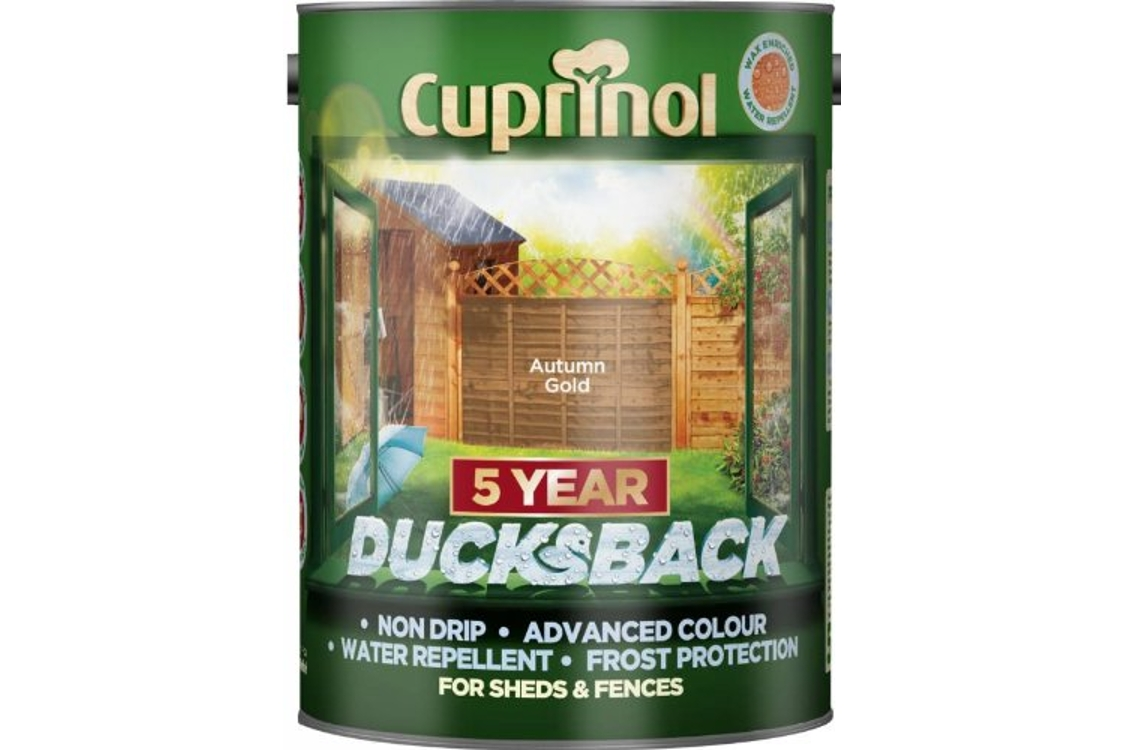 Cuprinol Ducksback Quick Drying Shed and Fence Treatment Autumn Gold 5L 5111363