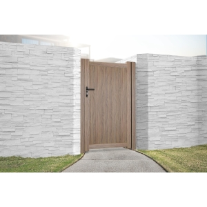 """Canterbury Pedestrian Flat Top Pedestrian Gate with Vertical Solid INFILL, LOCK, Lock Keep and Hinges 1200 x 2000mm Wood Effect"""""""
