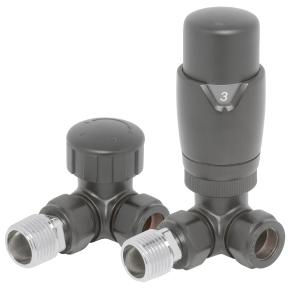 Corner Thermostatic Value & Lockshield Set - Anthracite