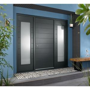 Oslo External Grey Hardwood Veneer Door 1981 x 838mm + Grey Frame & Side Lights 2 x 24in 610mm L & R