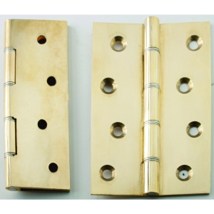 4Trade Polished Brass Double Steel Washered Hinge 100 x 67mm Pack of 2
