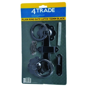 4Trade Plain Ring Gate Latch 150mm Black
