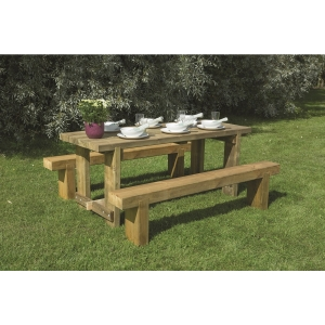 Refectory Table and Sleeper Benches Set 1.8m