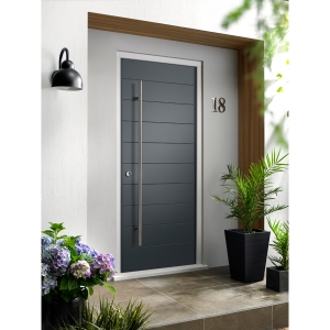 Oslo External Grey Hardwood Veneer Door 1981 x 838mm + External Hardwood Veneer Door Frame Grey