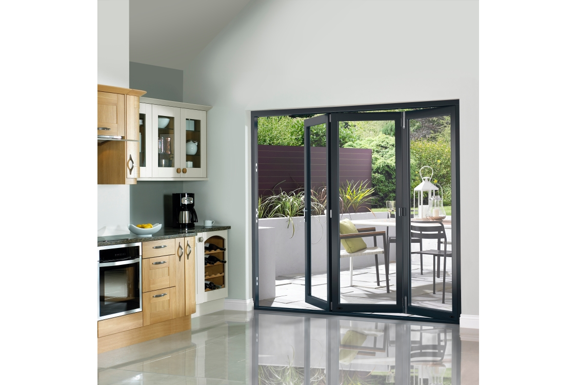 External Slimline Pre-finished Grey Bifold Door Set 2390mm wide