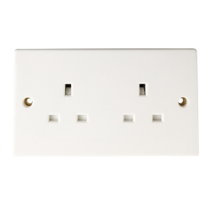 4TRADE 13AMP Socket 2 Gang Double Switched Socket