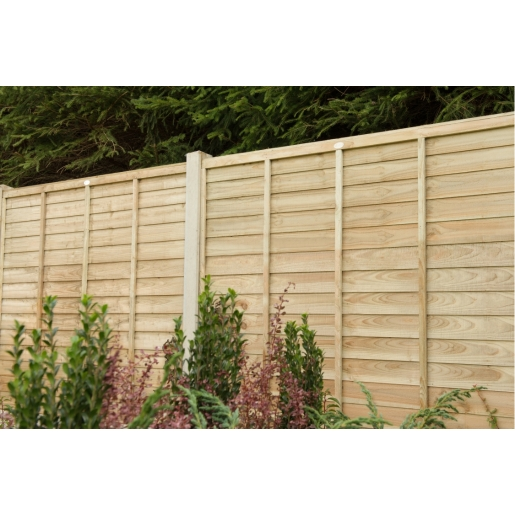 6ft x 6ft 1.83m x 1.83m Pressure Treated Superlap Fence Panel - Pack of 3