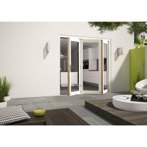 External Aluminium Clad White/Pre-Finished Oak Bifold Door Set 2390mm wide