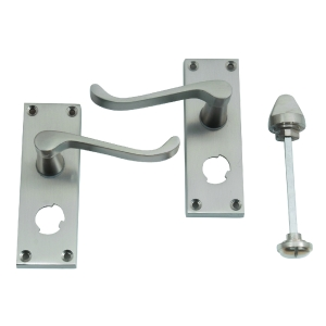 4trade Victorian Scroll Bathroom Lock Handle Satin Nickel