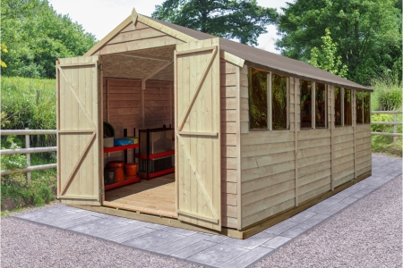 Overlap Pressure Treated 10 x 20 Apex Shed - Double Door