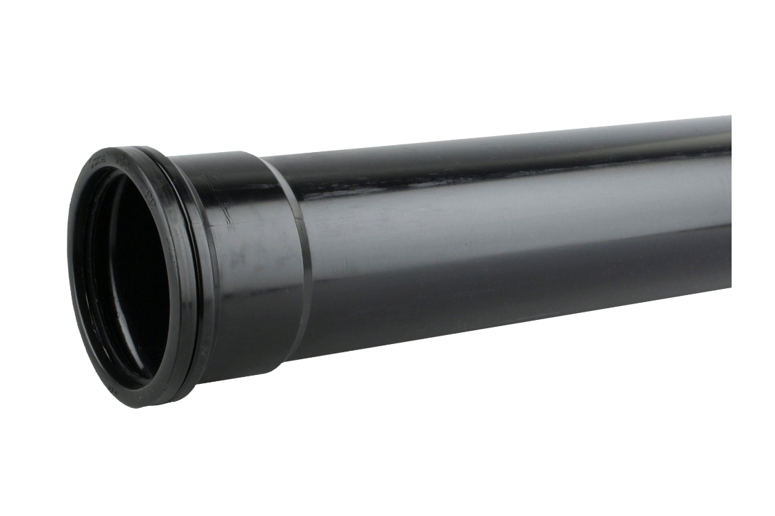 OsmaSoil 4S042B 110mm Socketed Pipe Black 2M