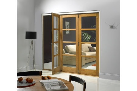 Internal Oak Veneer Shaker 4 Light Door 2074 mm x 2390 mm x 44 mm