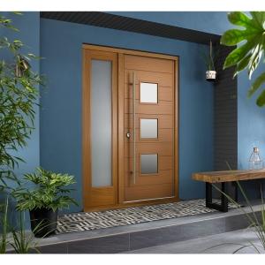 Malmo External Oak Veneer Door 1981 x 838mm + Oak Frame & Side Light 1 x 18in 457mm Reversible