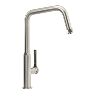 Abode Hex Single Lever Monobloc Kitchen Mixer Tap Brushed Nickel and Black AT2085
