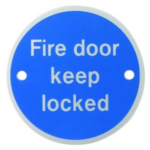 4Trade Fire Door Keep Locked Sign Satin Anodised Aluminium 75mm